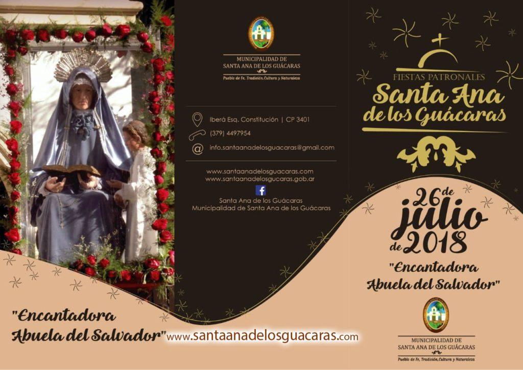 fiesta patronal 2018 santa ana de los guacaras programa