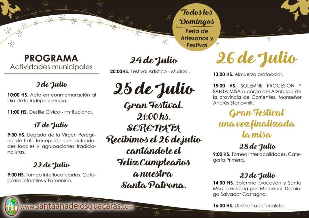 cronograma fiesta patronal 2018 santa ana de los guacaras
