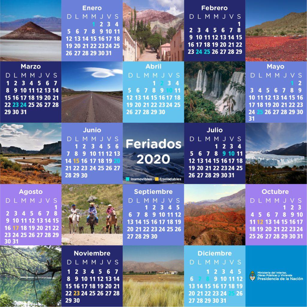 calendario de feriados oficiales de argentina 2020
